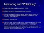 mentoring and politicking