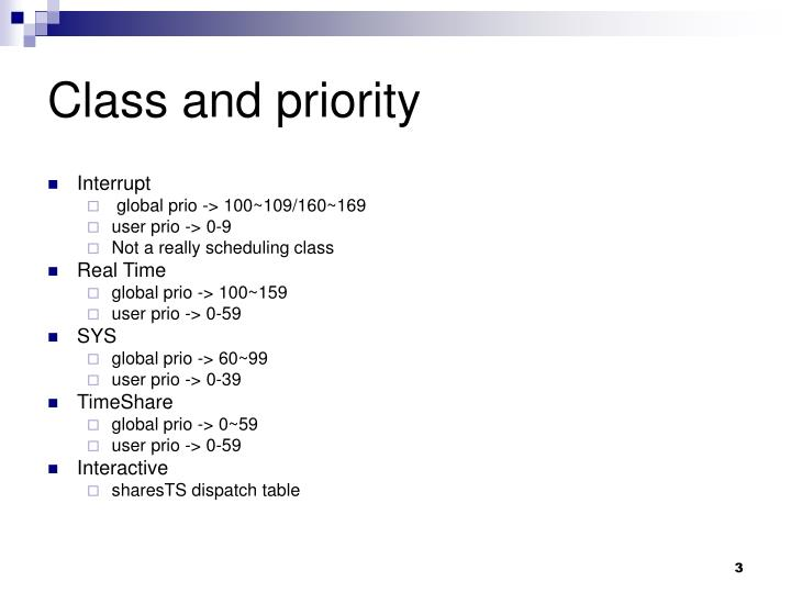Class and priority