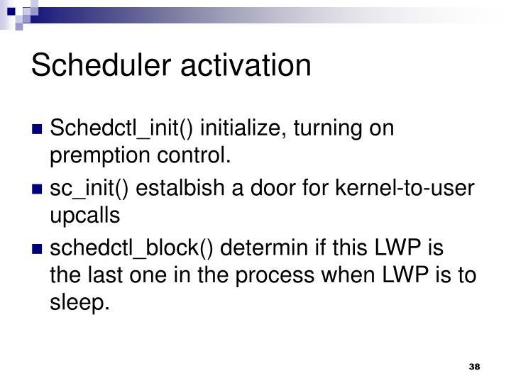Scheduler activation
