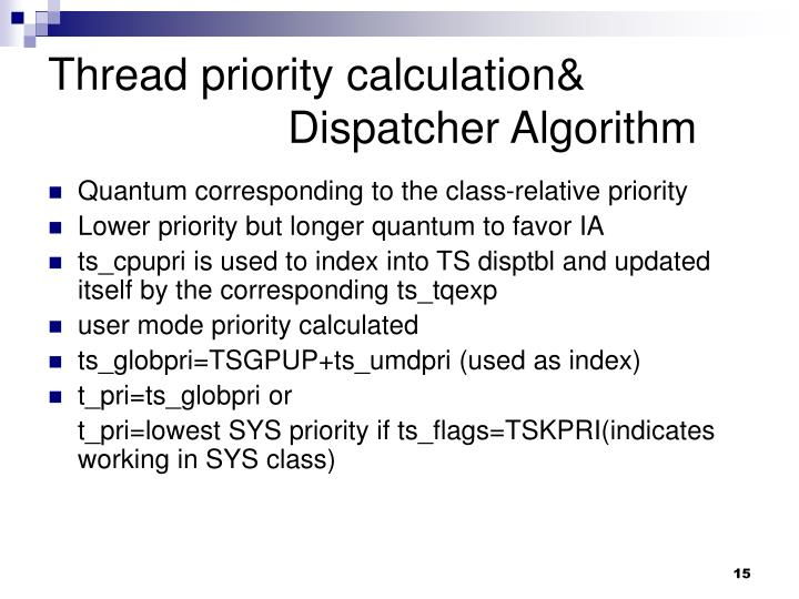 Thread priority calculation&