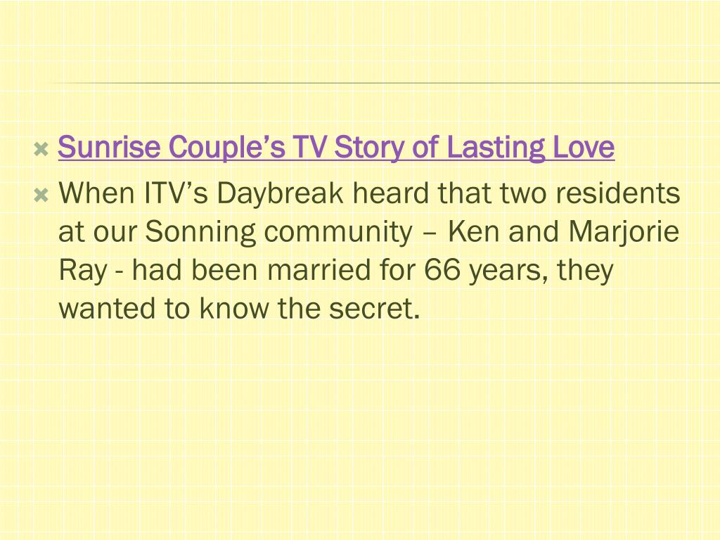 Sunrise Couple's TV Story of Lasting Love