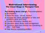 motivational interviewing the client stage therapist task