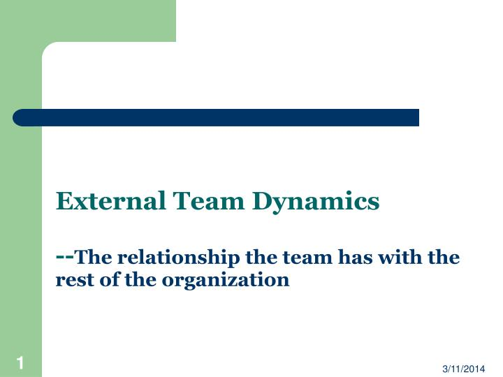 external team dynamics the relationship the team has with the rest of the organization n.
