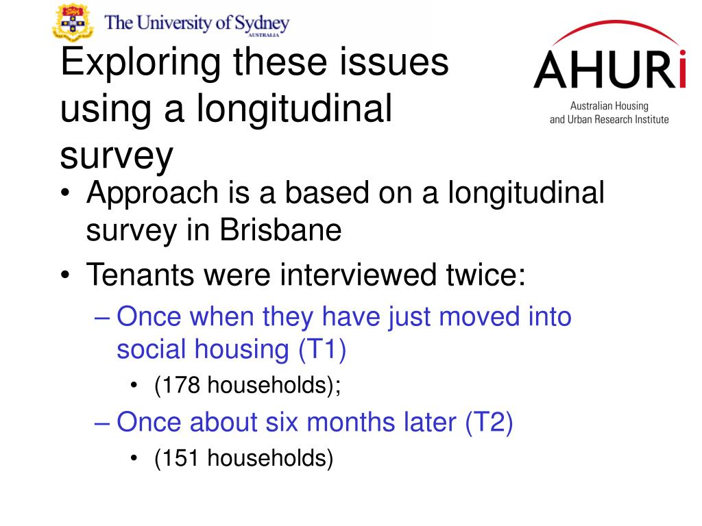 Exploring these issues using a longitudinal survey