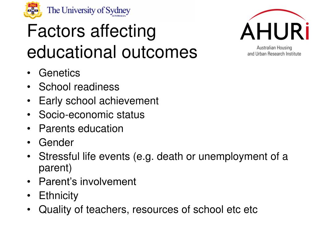 Factors affecting educational outcomes