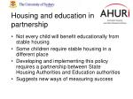 housing and education in partnership