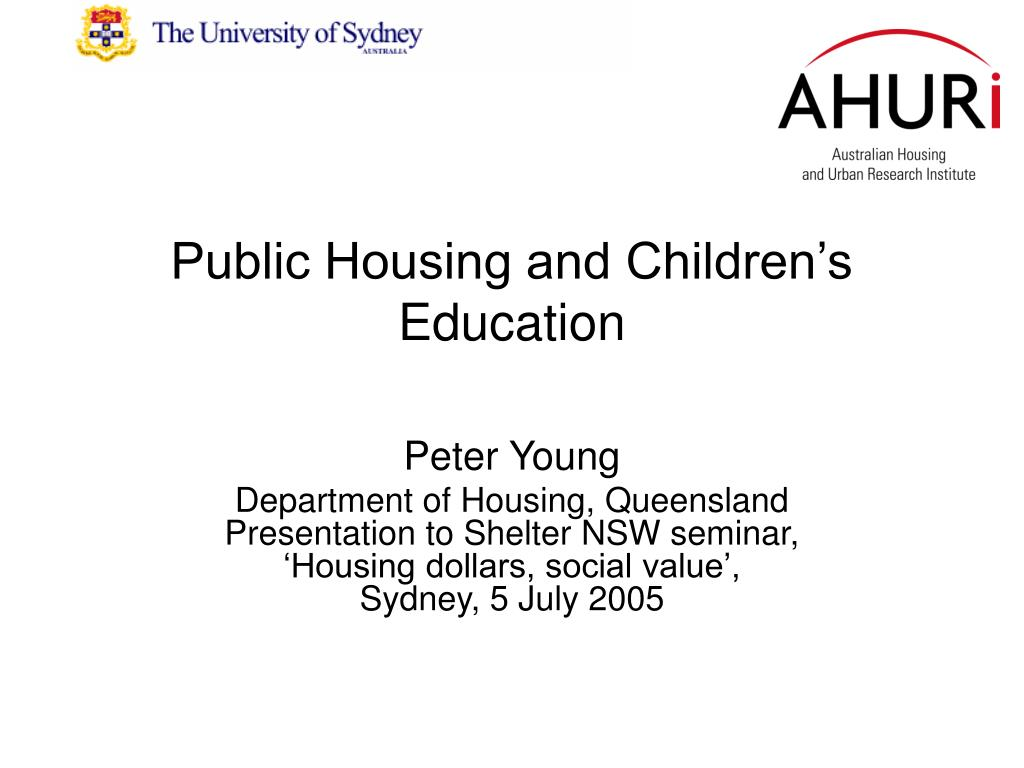 public housing and children s education l.