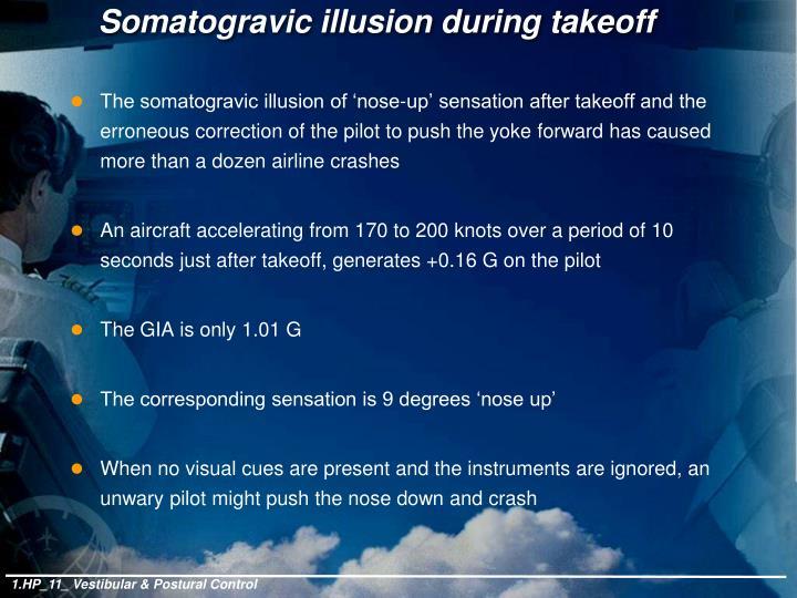 Somatogravic illusion during takeoff