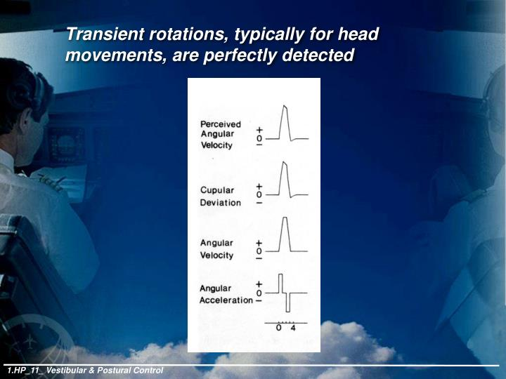 Transient rotations, typically for head movements, are perfectly detected