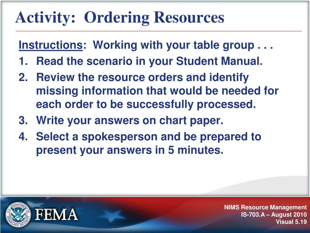 Activity:  Ordering Resources