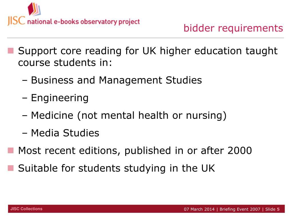 bidder requirements