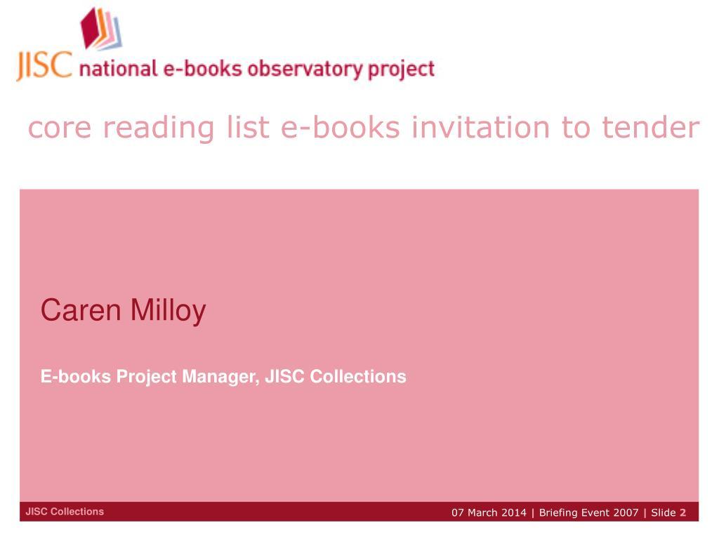 core reading list e-books invitation to tender