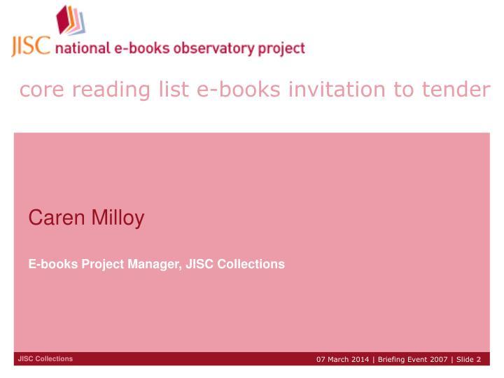 Core reading list e books invitation to tender
