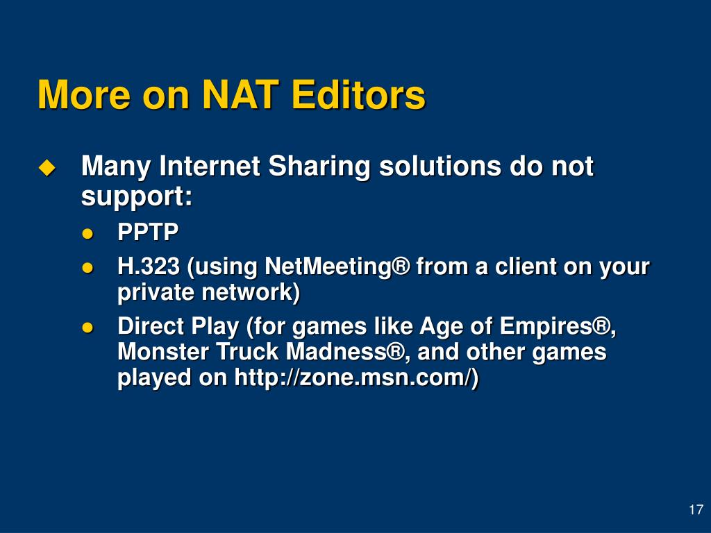 More on NAT Editors