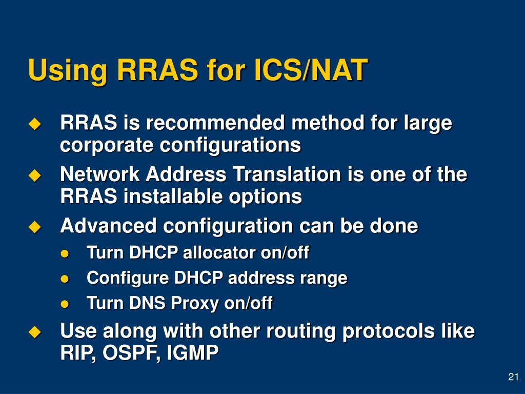 Using RRAS for ICS/NAT