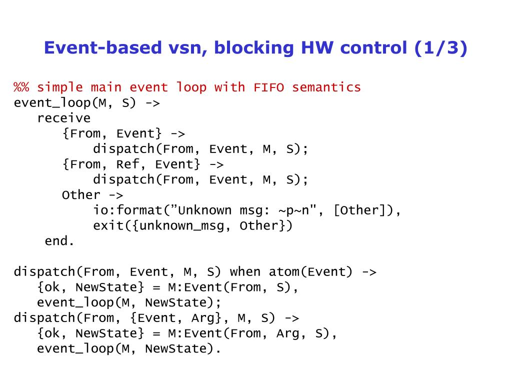 Event-based vsn, blocking HW control (1/3)