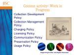 content activity work in progress