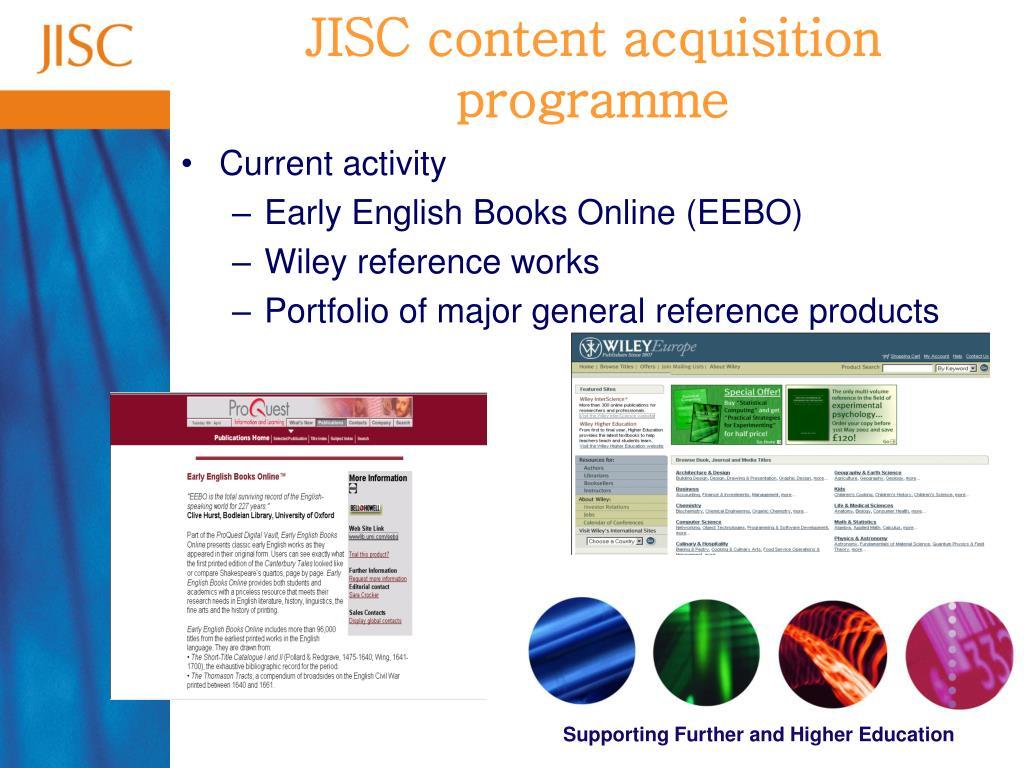 JISC content acquisition programme