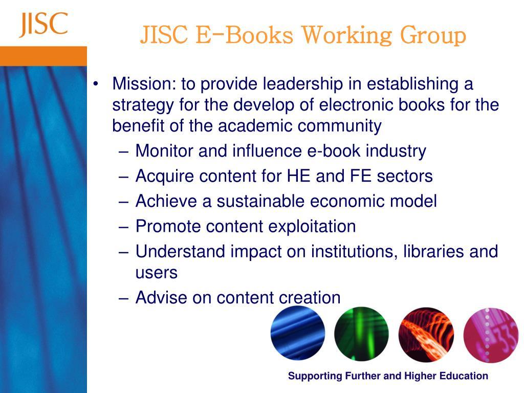 JISC E-Books Working Group
