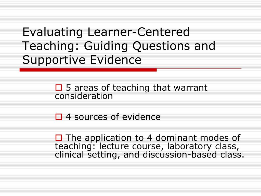 evaluating learner centered teaching guiding questions and supportive evidence l.