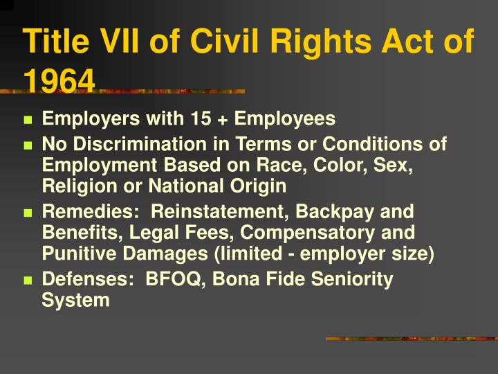 title vii of civil rights act of 1964 n.
