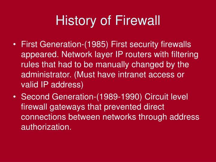 History of firewall