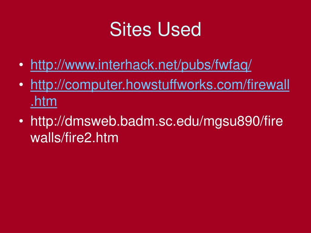 Sites Used