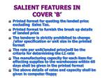 salient features in cover b