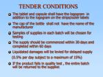 tender conditions