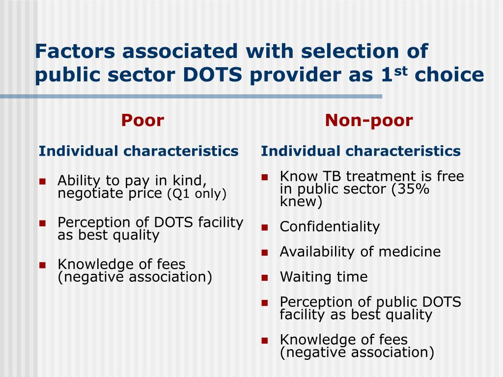 Factors associated with selection of public sector DOTS provider as 1