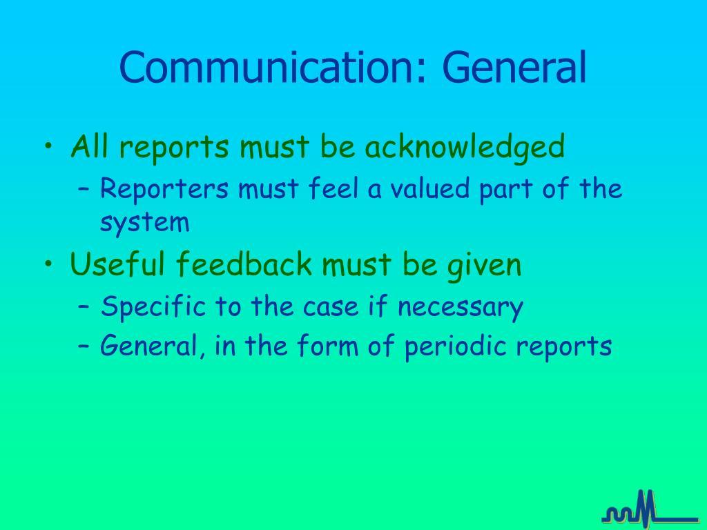 Communication: General