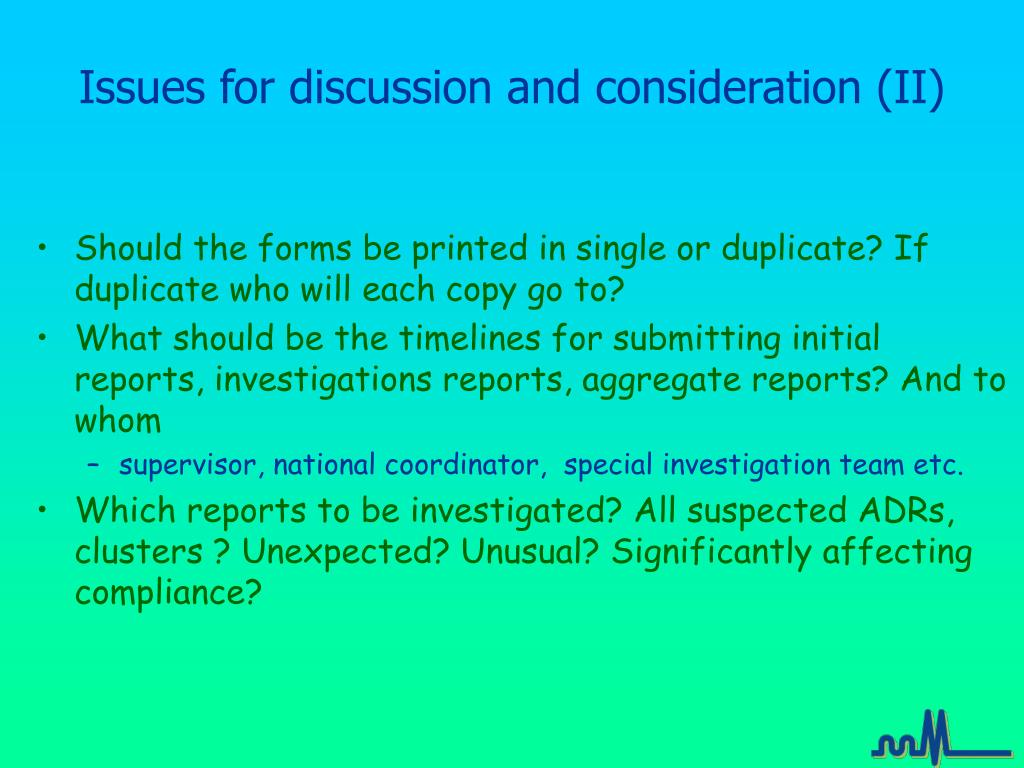 Issues for discussion and consideration (II)