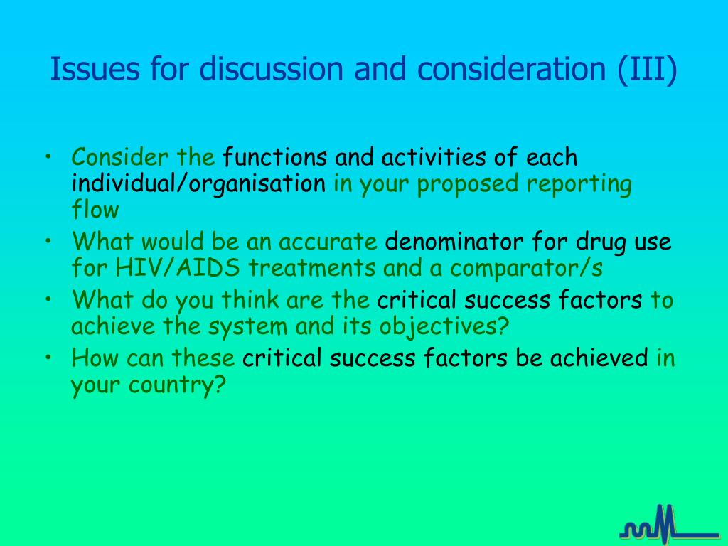 Issues for discussion and consideration (III)