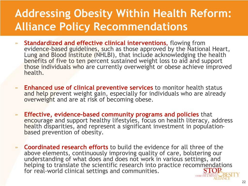 Addressing Obesity Within Health Reform: Alliance Policy Recommendations
