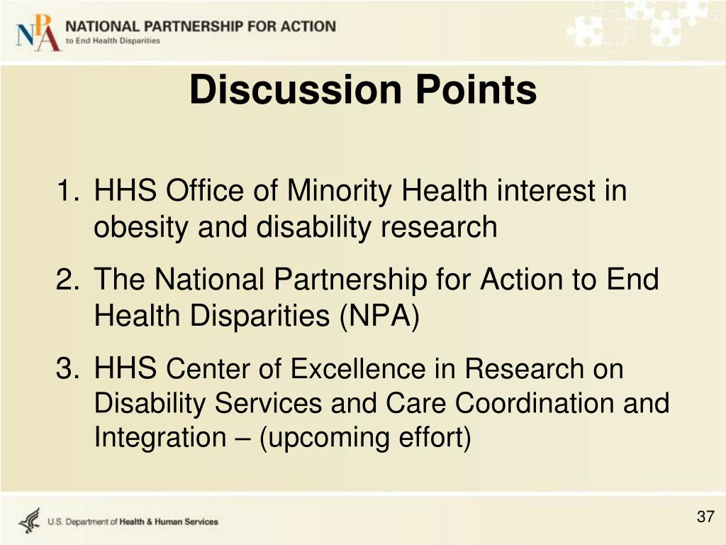 HHS Office of Minority Health interest in obesity and disability research