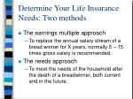 determine your life insurance needs two methods