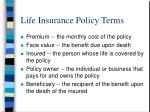 life insurance policy terms