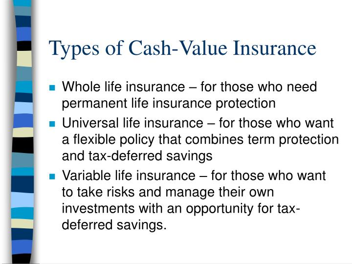Types of Cash-Value Insurance