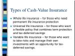 types of cash value insurance