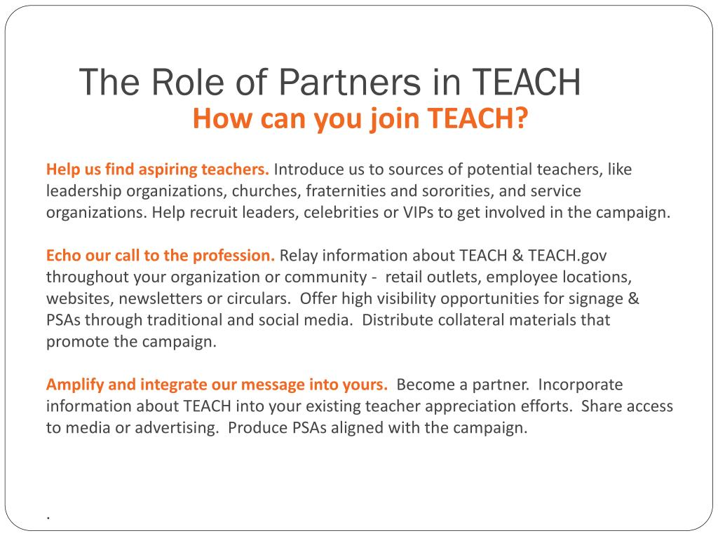 The Role of Partners in TEACH