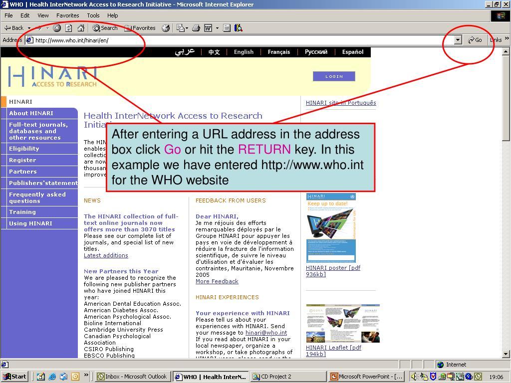 Entering a URL address in the address box