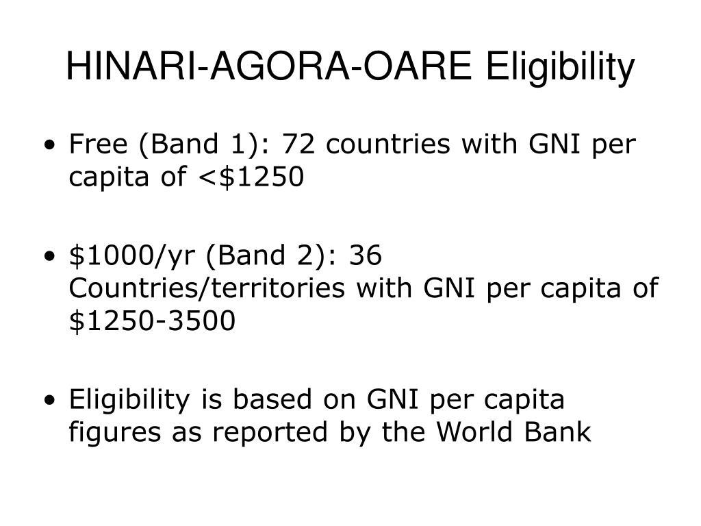 HINARI-AGORA-OARE Eligibility