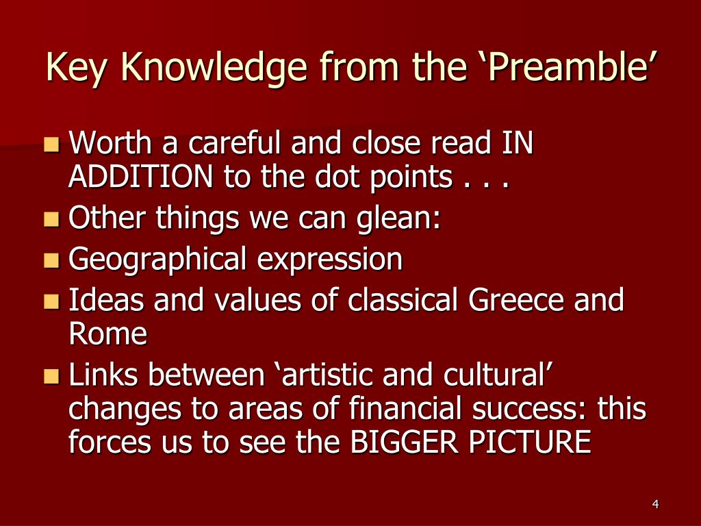 Key Knowledge from the 'Preamble'