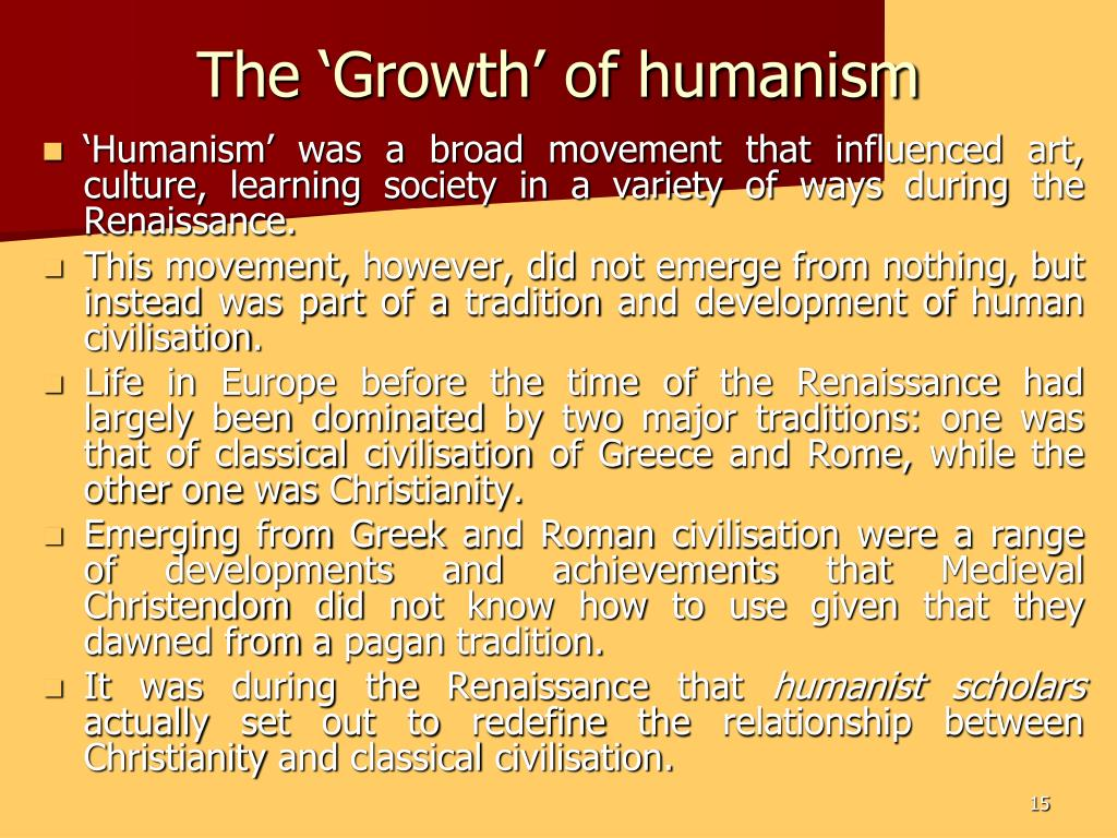 The 'Growth' of humanism