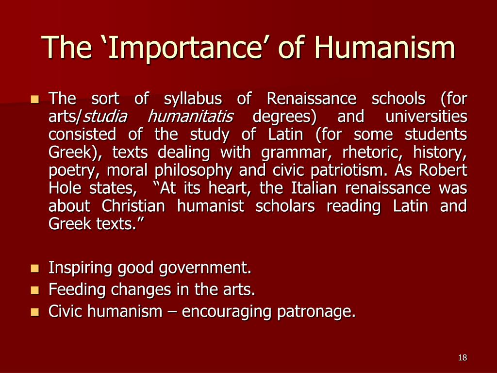 The 'Importance' of Humanism