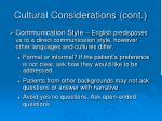 cultural considerations cont35
