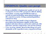 findings quality care perspt