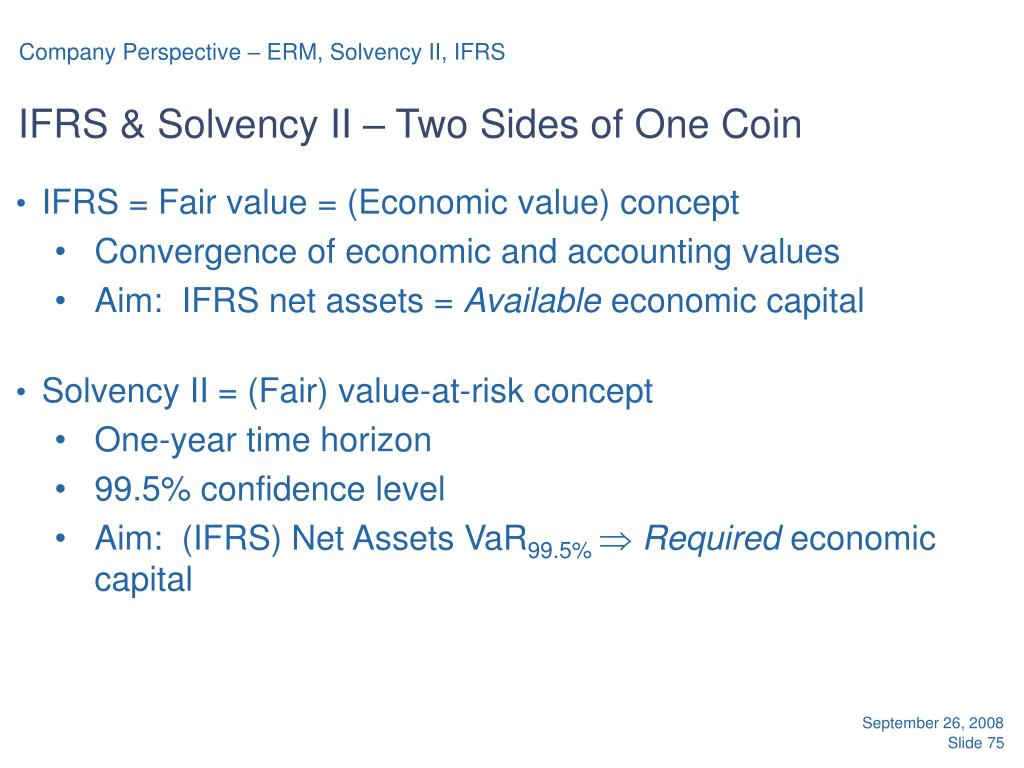 Company Perspective – ERM, Solvency II, IFRS