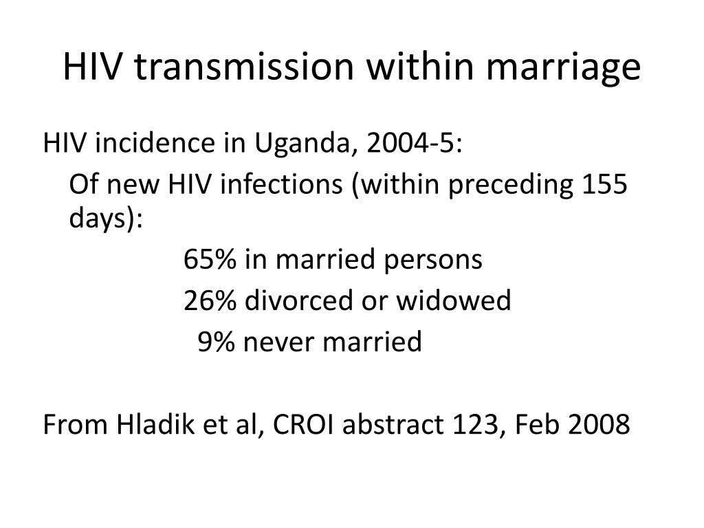 HIV transmission within marriage