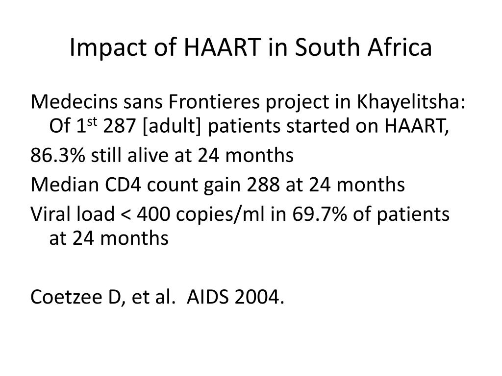 Impact of HAART in South Africa